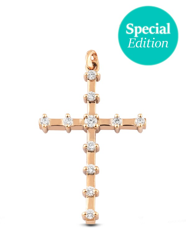 Cross Rose Gold K18 with Diamonds