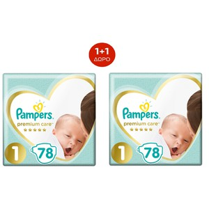 PAMPERS Premium care new baby N1 2-5kg 78τεμάχια 1+1 ΔΩΡΟ