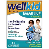VITABIOTICS WELLKID IMMUNE 30CHEWABLE TABS ORANGE & LEMON FLAVOUR 4-12YEARS
