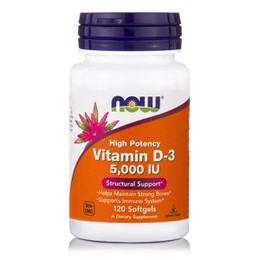 Now Foods Vitamin D3, 5.000 IU 120 Softgels
