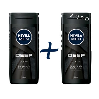 NIVEA - MEN Deep Shower Gel - Ντούς - 500ml - 1+1 Δώρο
