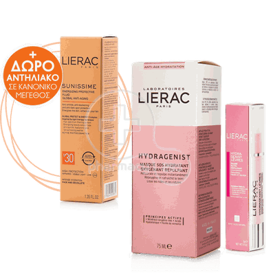 LIERAC - PROMO PACK HYDRAGENIST  Masque SOS Hydratant (75ml), HYDRAGENIST Levres Colourless (3gr) & SUNISSIME Fluide Protecteur Energisant SPF30 (40ml)