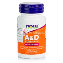 Now Foods Vitamin A & D3 (10.000 IU & 400 IU) - Όστα / Δέρμα / Μαλλιά, 100 softgels