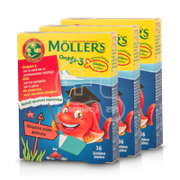 MOLLER'S - PROMO PACK 3 ΤΕΜΑΧΙΑ Omega-3 - 36 fish jellies φράουλα