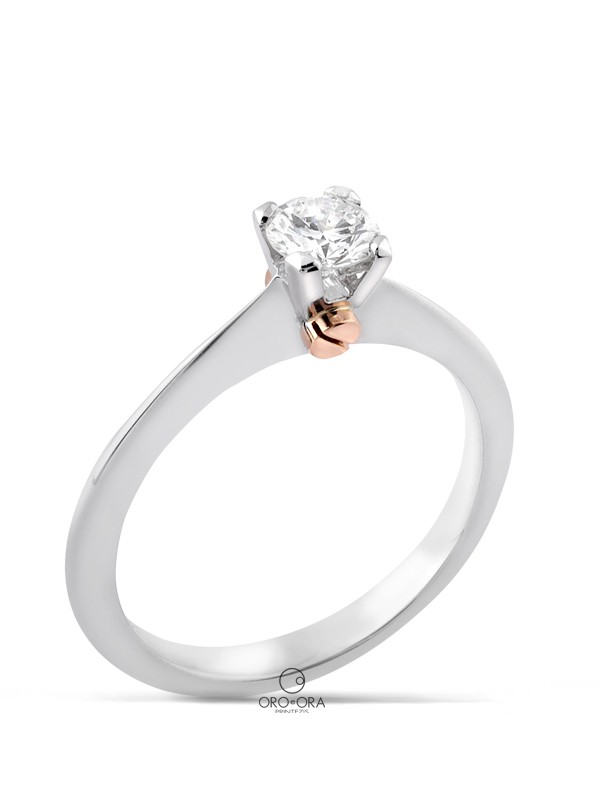 Solitaire Ring White Gold K18 with Diamond 0,39ct