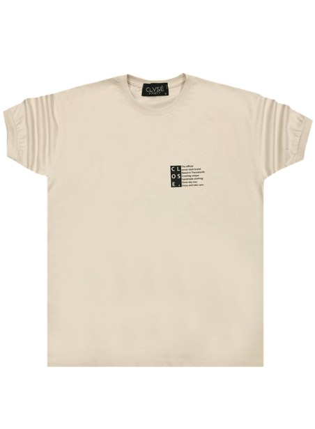 CLVSE SOCIETY BEIGE T-SHIRT 309 OFFICIAL LOGO