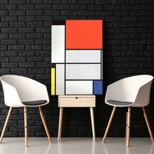 Mondrian   tableau i with black red yellow blue and light blue