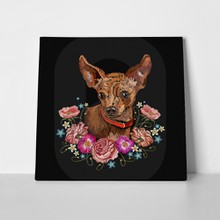 Embroidery dog flowers chihuahua 793435762 a