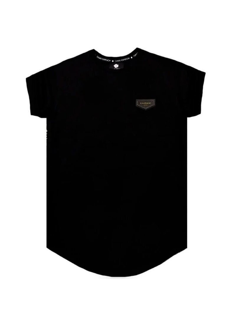 Gianni Kavanagh Black Tee With GK Gold Ribbon