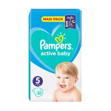 Pampers Active Baby Maxi Pack No5 11-16 Kg 51Τμχ .