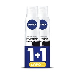 Nivea black   white clear invisible spray 48h 2x150ml
