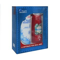 A GIFTPACK  for Real Men Head & Shoulders Anti-Dandruff Shampoo & Conditioner Classic Clean 2in1 360ml + Old Spice Wolfthorn Shower Gel 250ml.