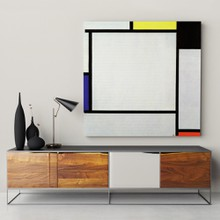 Mondrian   tableau 2 with yellow black blue red and gray 2