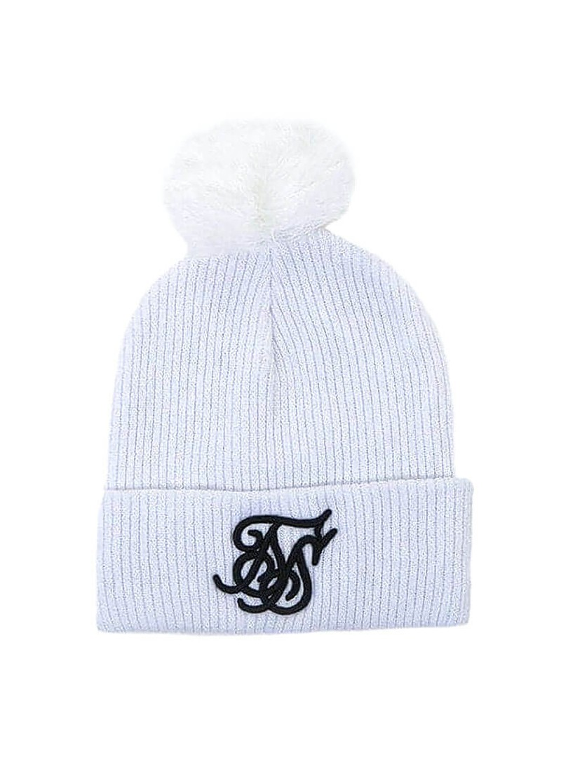 SikSilk Ribbed Beanie – White