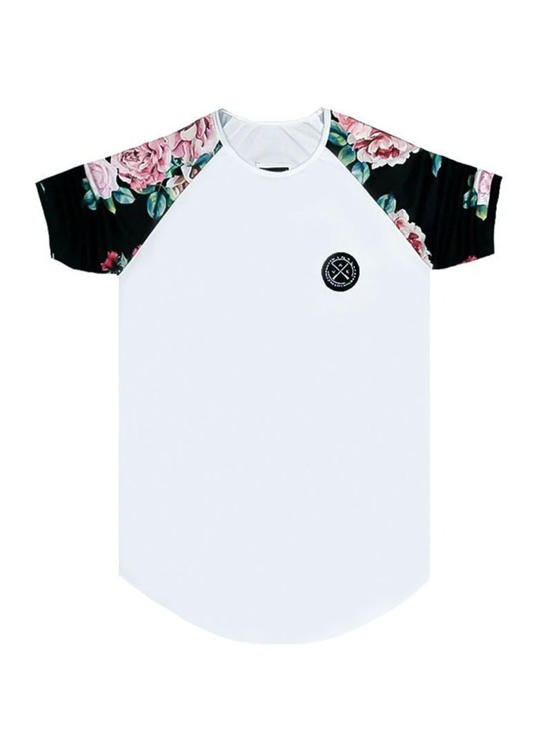 VINYL ART CLOTHING WHITE T-SHIRT WITH FLORAL SLEEVES
