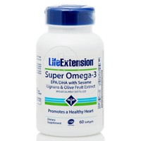 LIFE EXTENSION - SUPER OMEGA-3 EPA/DHA with Sesame Lignans and Olive Fruit Extract - 60softgels