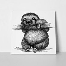 Black white engraved sloth 774985714 a