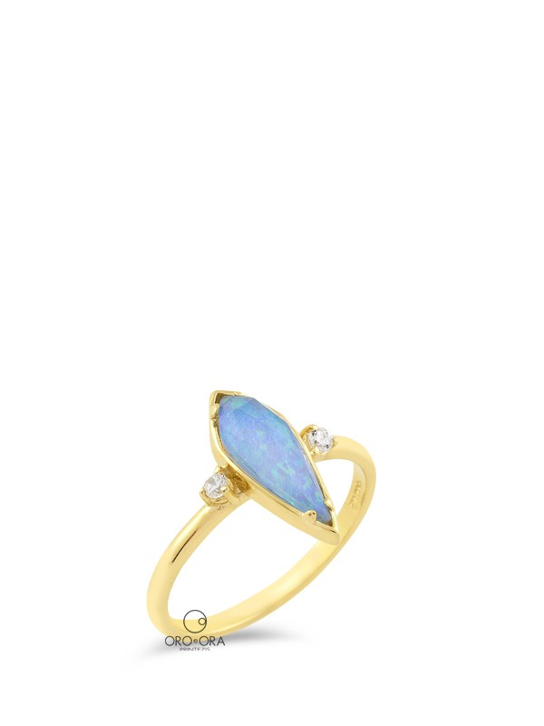 Ring Gold K14 with Opal and Zircon
