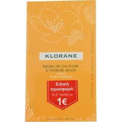 Klorane Cold Wax Strips With Sweet Almond - Αποτριχωτικές Ταινίες Κρύου Κεριού, 2x6 διπλές ταινίες