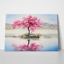 Oil painting landscape oriental cherry tree 410271079 a