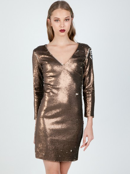 Sequined dress with V-neck