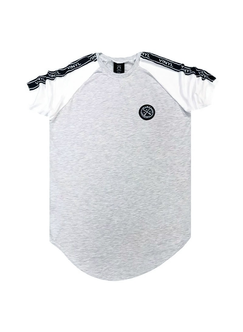 VINYL ART CLOTHING LIGHT GREY T-SHIRT WITH CONTRAST SLEEVES AND TAPING