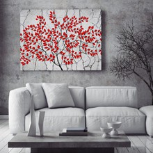 Red tree on grey background