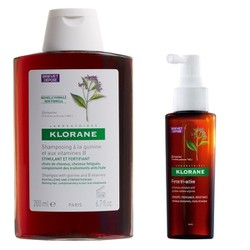 Klorane Quinine Shampoo 200ml & Cure de Force Tri-Active Serum for Chronic Hair Loss 100ml