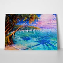 Palm trees and sea painting a