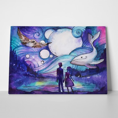 Couple on beach mystical whale 250647727 a