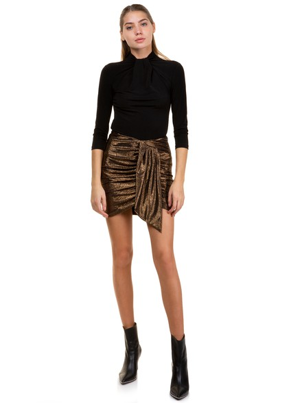 The gold mini skirt