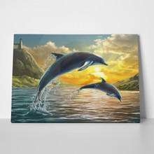 Dolphins sunset painting 285440969 a