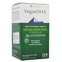 MINAMI NUTRITION VEGAN DHA PLUS ASTAXANTHIN 60 ORANGE FLAVOR SOFTGELS