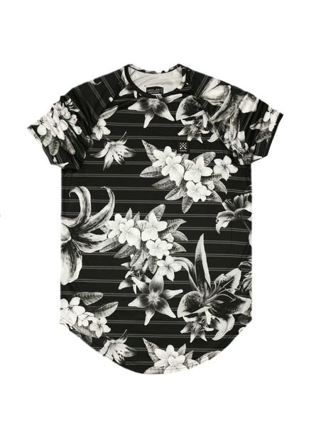 VINYL ART CLOTHING BLACK T-SHIRT WITH ALL-OVER FLORAL PRINT