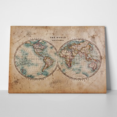 Rectangular Canvas Print OLD STAINED WORLD MAP 1800 - Sticky