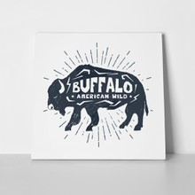 Hand drawn label textured buffalo 563099758 a