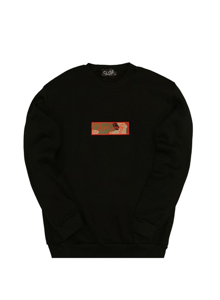 CLVSE SOCIETY BLACK CREW NECK WITH ORANGE CAMO PATCH