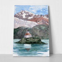 Lighthouse on island mountains hills background 1102075229 a