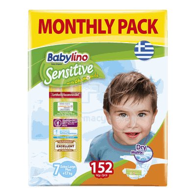 BABYLINO - MONTHLY PACK Babylino Sensitive Extra Large Plus No7 (17+ Kg) - 152 πάνες