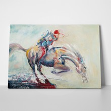 Oil painting horse and jockey 535722088 a