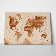 Brown watercolor continents map 221659636 a