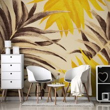 Yellow and brown palm leaves a