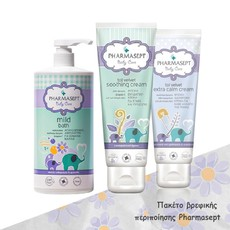 Pharmasept Πακέτο Tol Velvet Baby Mild Bath 2in1 1lt &  Tol Velvet Baby Soothing Cream 150ml & Tol Velvet Baby Extra Calm Cream 150ml. Πακέτο βρεφικής περιποίησης με προϊόντα Pharmasept.