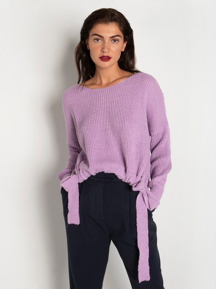 Ribbed knit asymmetrical sweater