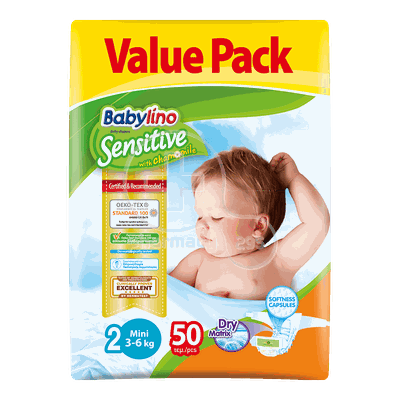 BABYLINO - VALUE PACK Babylino Sensitive Mini No2 (3-6 Kg) - 50 πάνες