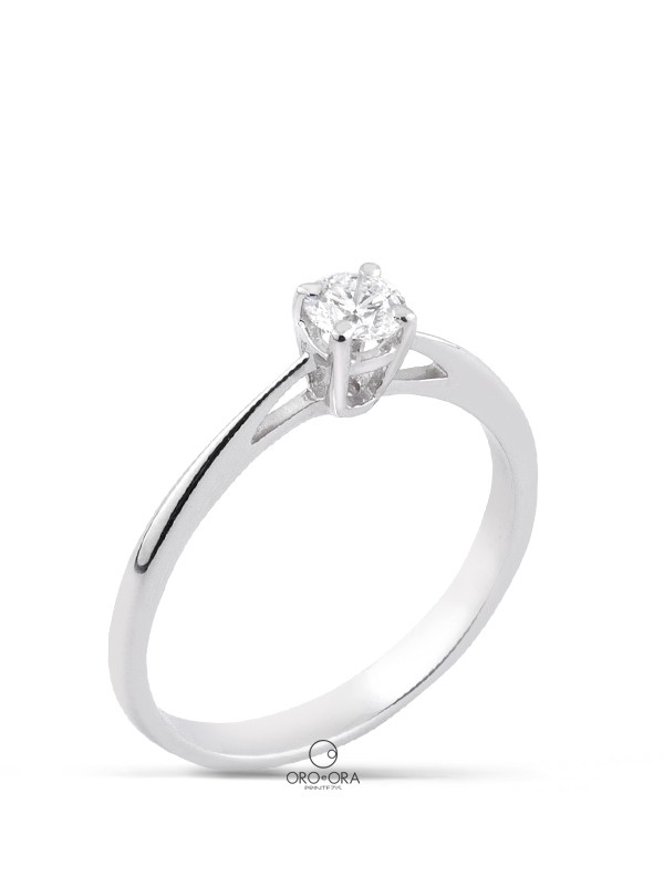 Solitaire Ring White Gold K18 with Diamond 0,27ct