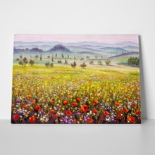 Italian tuscany cypresses landscape poppies 1020369193 a