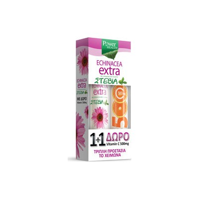 Power Health Echinacea Extra Με Στέβια 24 αναβράζοντα δισκία + ΔΩΡΟ Vitamin C 500mg Πορτοκάλι 20 Αναβράζοντα Δισκία