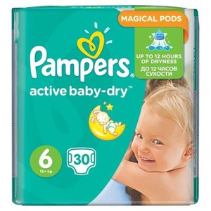 PAMPERS Active baby-dry N6 extra large πάνα για μωρά 15+ kg 30τμχ