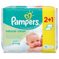 Pampers Baby Wipes Natural Clean 192 Μωρομάντηλα 2+1 Δώρο